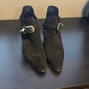 Sandro Black Suede Cut Out Booties